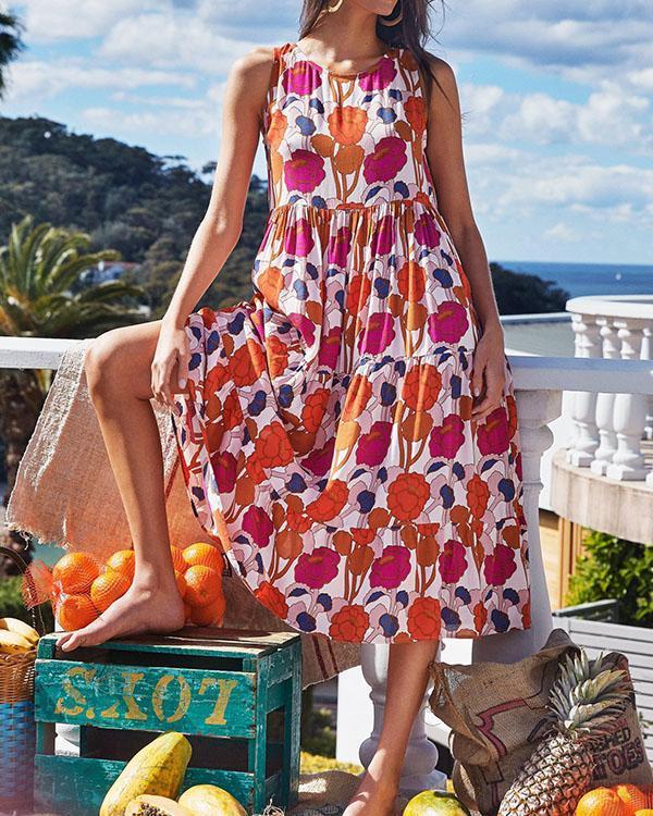 Sleeveless Holiday Round Neck Floral Midi Dress