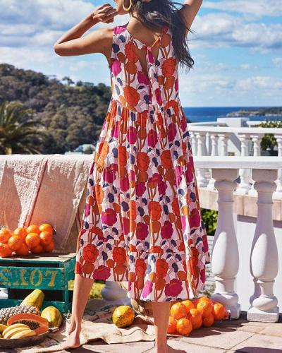 Sleeveless Holiday Round Neck Floral Midi Dress