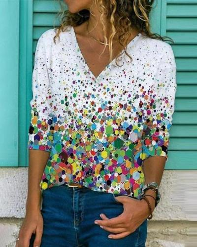 Print Long Sleeve Casual V Neck Shirts & Tops