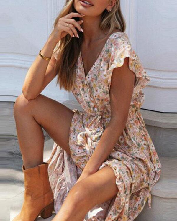 Bohemian Short Sleeve Floral Print Ruffle Dresses