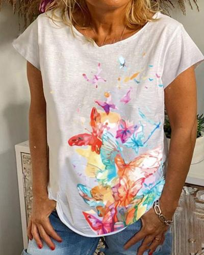 Butterfly Print Casual Short Sleeves Shirts & Top