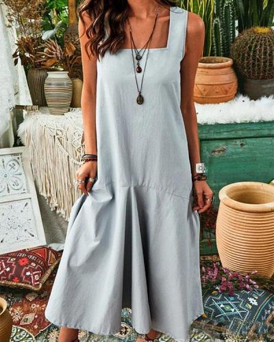Sleeveless Fashion Square Neck Solid Maxi Dress