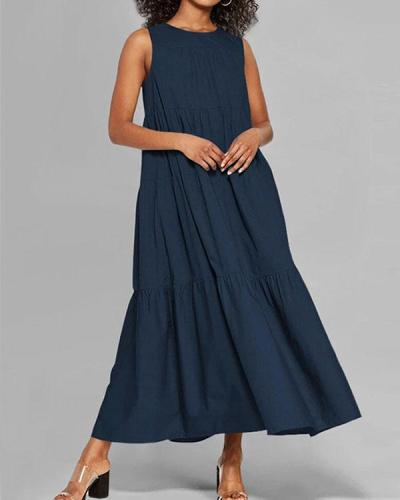 Fashion Round Neck Plain Ruffle Big Hem Maxi Dress