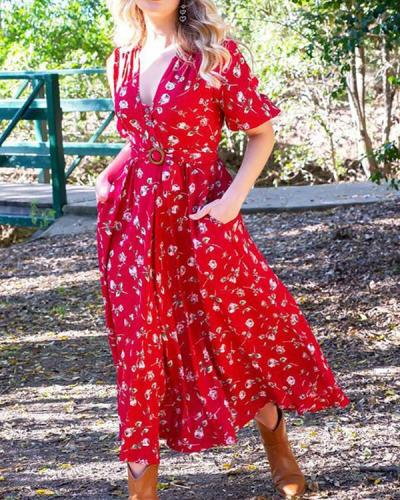 Floral Printed V Neck Red Maxi Dress