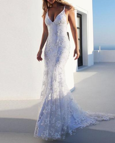Women Elegant Maxi Slim Bodycon White Lace Dress
