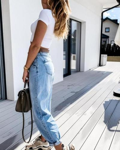Women Fashion Denim Casual Daily Pants