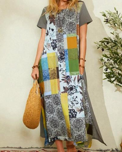 Printed Crew Neck Bohemian Irregular Maxi Dress