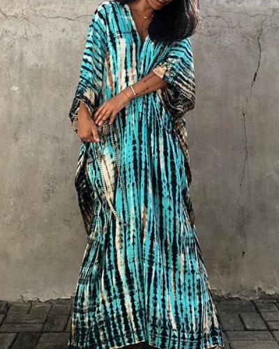 Tie Dye Print Loose Bikini Cover Up Women Beach Maxi Dress