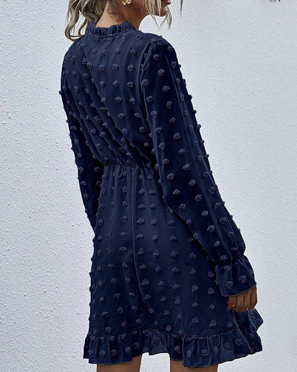 Fashion Chiffon Lace up Highwaist Ruffle Dress