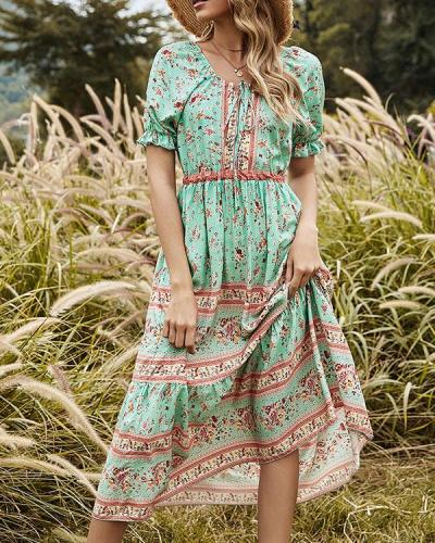 Highwaist Ruffle Floral Printed Round Neck Green Midi Dress