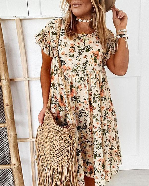 Ruffle Mini Dress Short Sleeve Floral Dresses