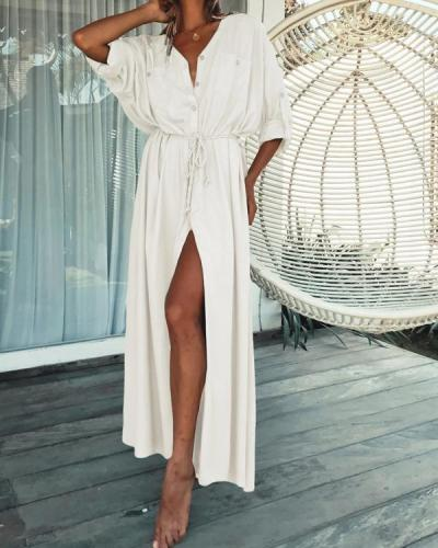 Sexy V neck Beach Cover up Women Shirt Long Maxi Dress