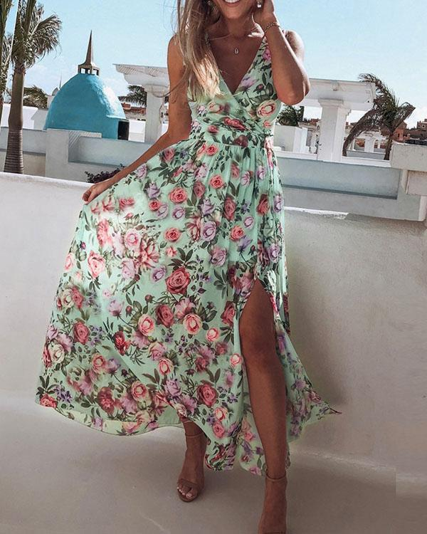 Sleeveless Floral Printed Holiday Beach Slit Maxi Dress