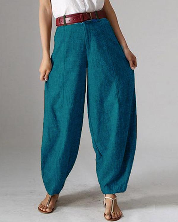 Casual Solid Color Pockets Harem Pants For Women