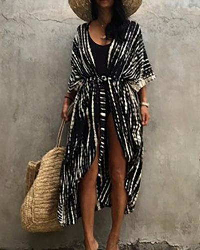 Bikini Cover-ups Retro Striped Self Belted Women Summer Kimono Dress Beach Wear