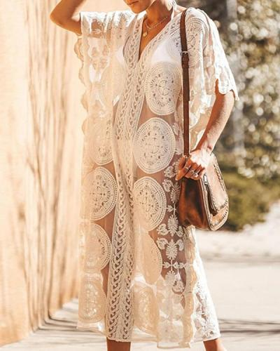 Sheer Lace Crochet Maxi Boho Dress