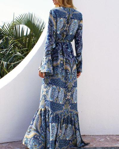 Bohemian Long Sleeve Printed V Neck A Line Maxi Dress