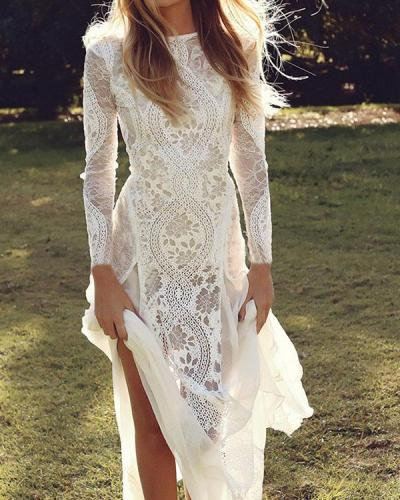 Elegant Floral Lace Hollow Transparent Wedding Dress