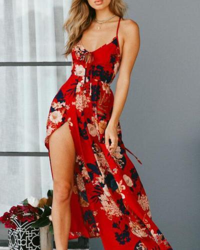 Elegant Spaghetti Strap Lace up Holiday Floral Slit Maxi Dress