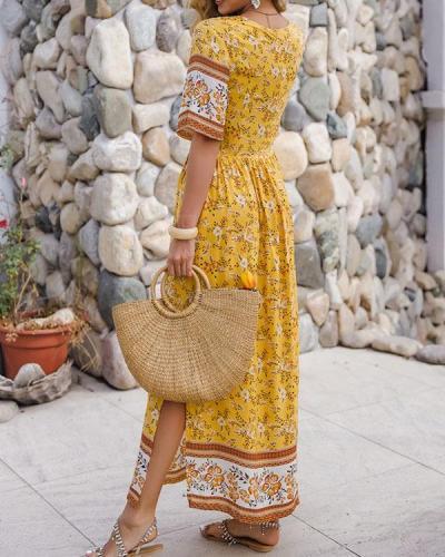 Summer Holiday Ruffle Printed A Line Maxi Dress