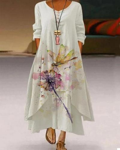 Casual 3/4 Sleeve Printed Dresses