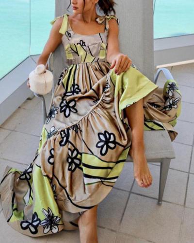Elegant Lace up Strap Multiflora Ruffle Dress