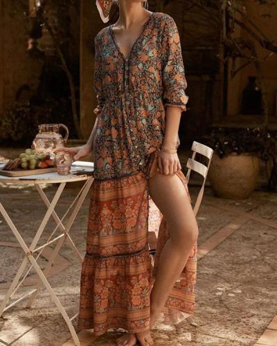 Bohemian Long Sleeve Button up Floral V Neck Maxi Dress