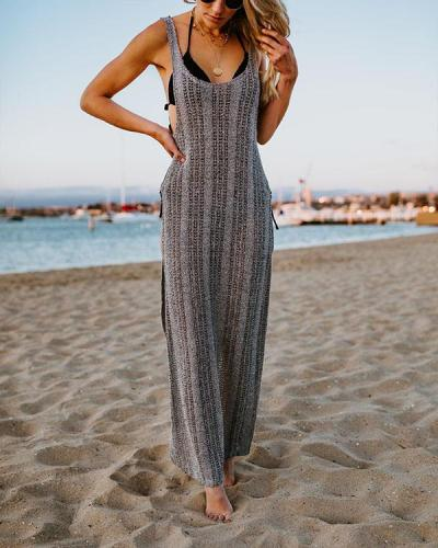 Sexy Silk Bikini Cover up Knitted Maxi Dress