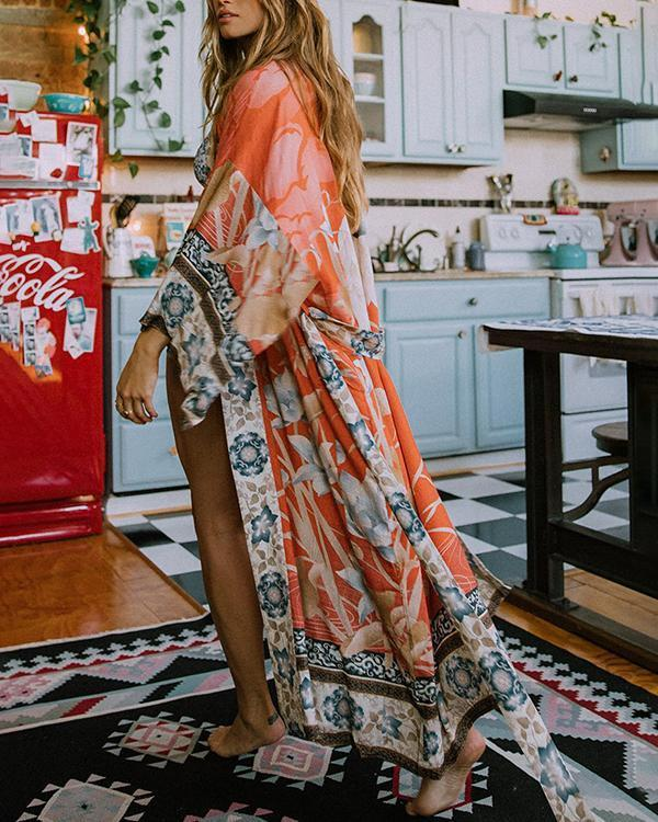 Floral Tropical Print V-Neck Bohemian Swimsuits Cover-ups