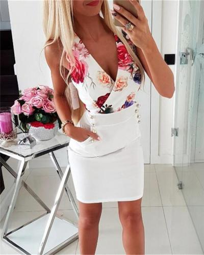 V Neck Sleeveless Floral Printed Bodycon Mini Dress