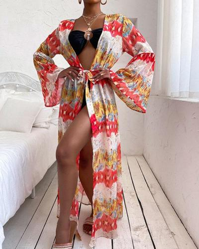 Colorful Print Lace up Swimsuits Cover-ups with Belt