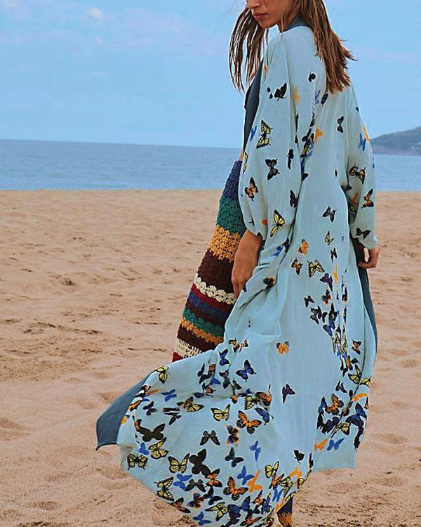 Butterfly Long Sleeve Swimsuits Cardigan