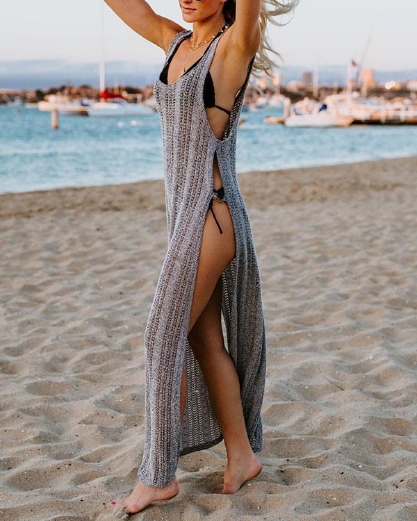 Sexy Silk Bikini Cover up Knitted Maxi Dress