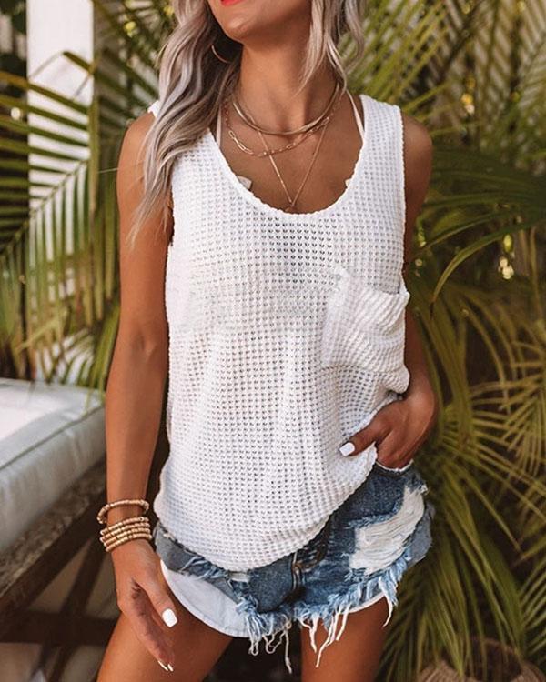 Sleeveless Knitted Pocket T-shirt Fashion Vests