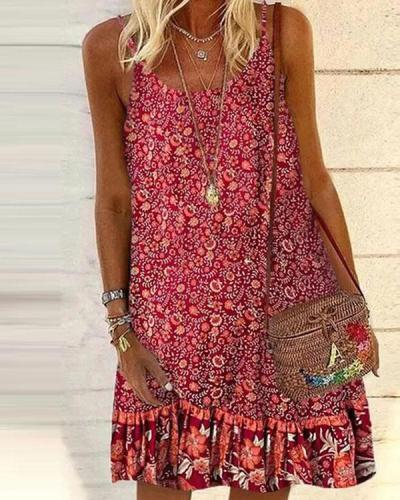 Vintage Holiday Sleeveless Print Tunic Ruffle Mini Dresses