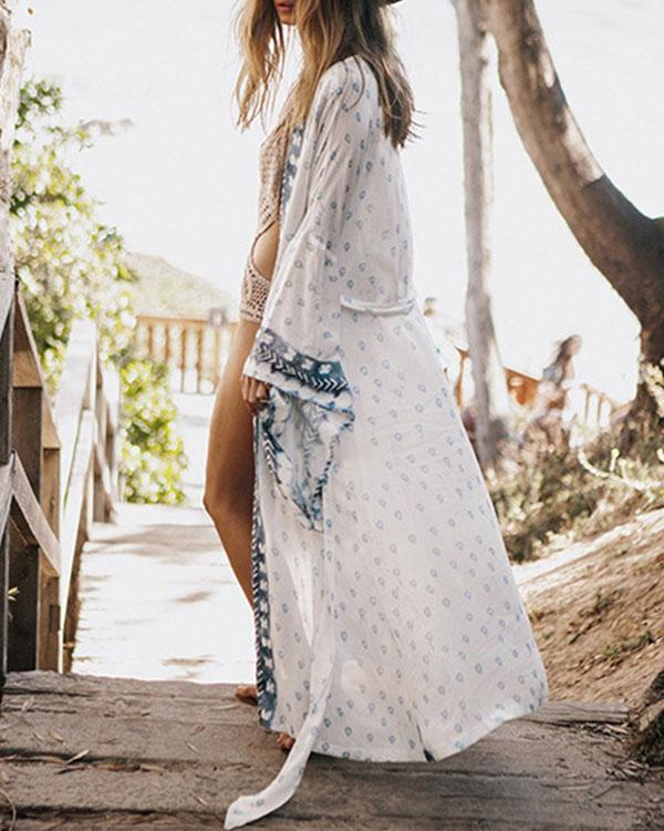 Flare Sleeve Bohemian Print Beachside Long Cardigan
