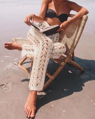 Cotton Crochet Hollow Out Elastic Waist Beachside Pants