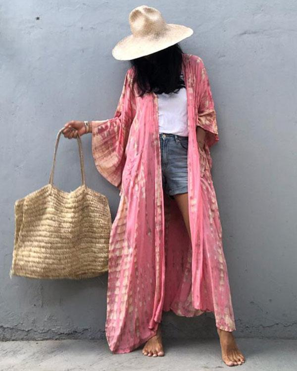 Long Sleeve Printed Hooded Sun Protection Cardigan Bikini Cover-up