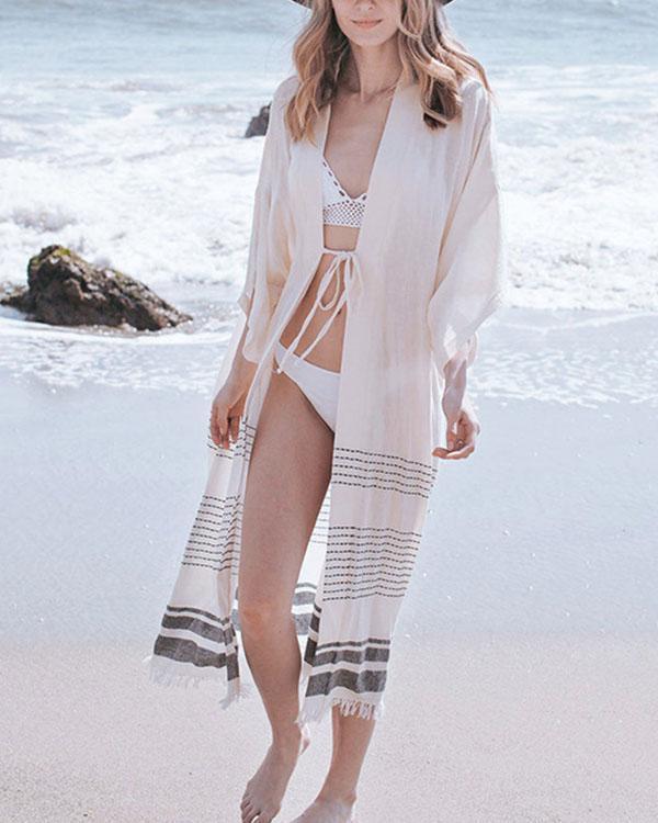 3/4 Sleeve Stripe Tassel Beachside Long Cardigan