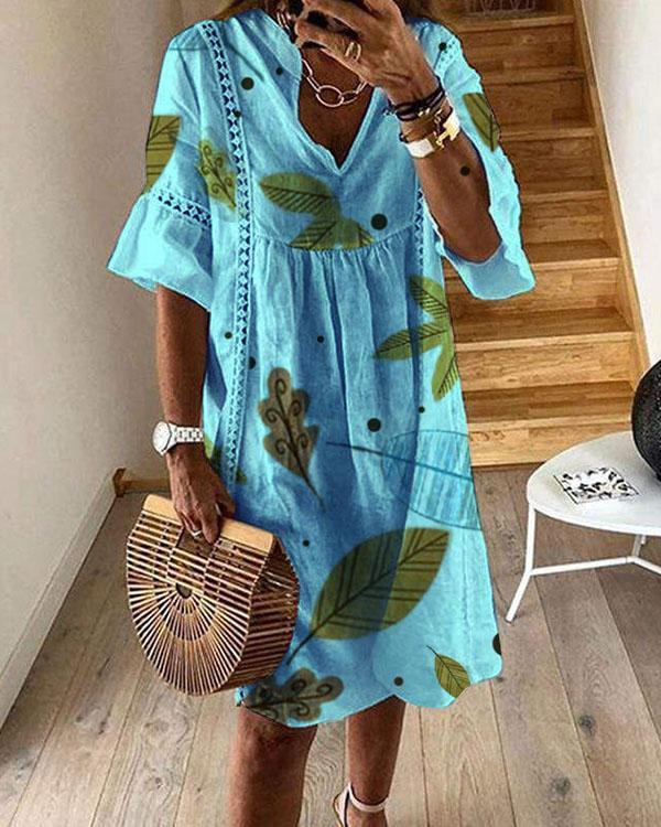Half Sleeve Leaves Print A-line Midi Dresses