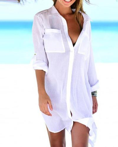 Women Beach Cover Up Button Down Pocket Shirts Sunscreen Bikini Swimsuit Blouse