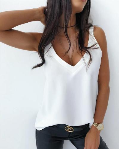 Casual V Neck Sleeveless Tops Vests