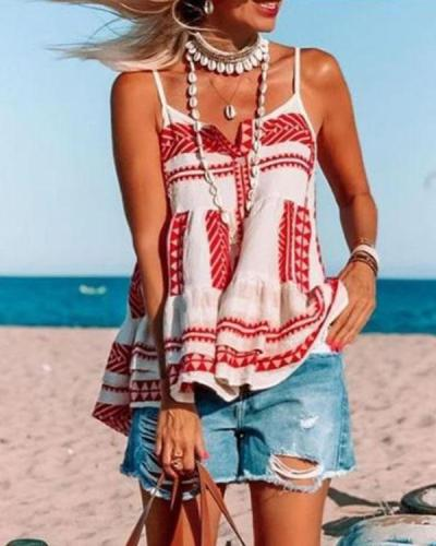 Bohemian Button Ruffle Hem Holiday Camis&Vests