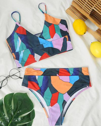 Multicolor Geometric High Waist V Neck Vacation Beach Bikini