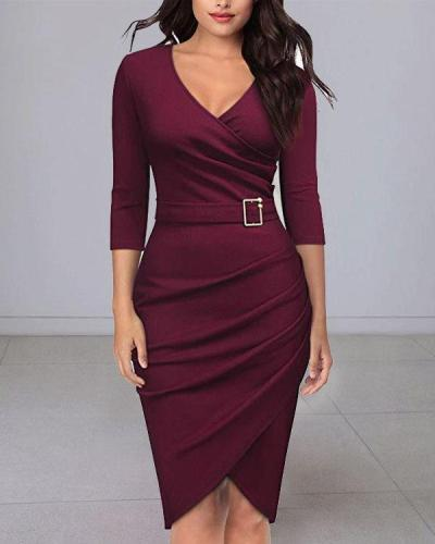 Elegant 3/4 Sleeve V Neck Bodycon Midi Dress