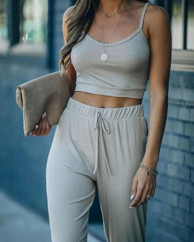 Solid Daily Suit Cami&Pants 2-piece Sets