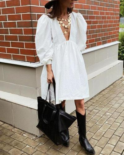Deep V Neck Balloon Sleeves Solid Cotton Dress