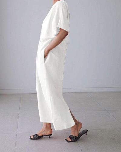 Solid Short Sleeve Twisted Design Irregular Linen Dresses