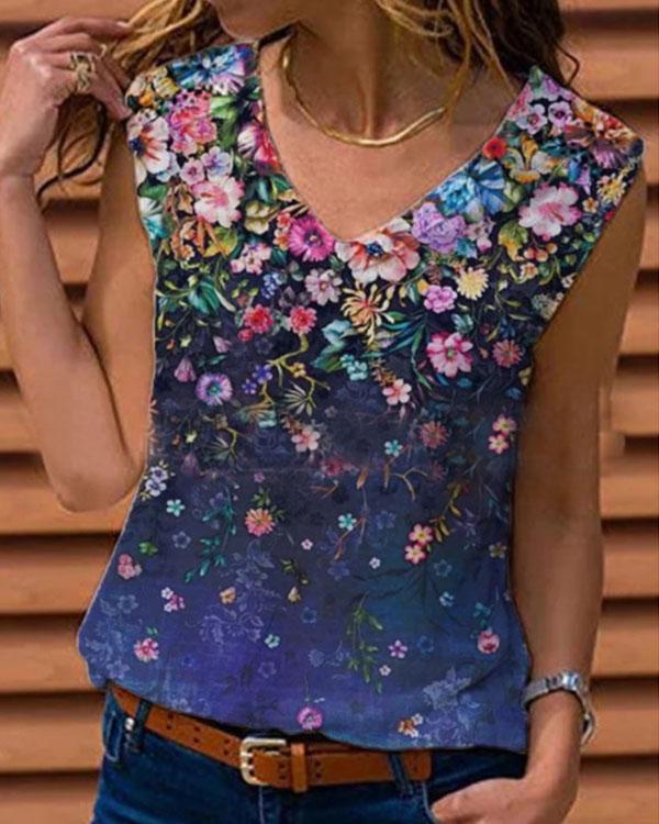Women Cotton Floral Printed V Neck Tank Top