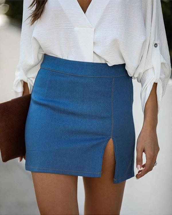 Women Fashion Denim Mini Skirt
